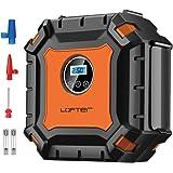 車用空気入れ LOFTER エアコンプレッサー 自動車 電動ポンプ DC12V 小型 低騒音 LEDライト付き 自動停止 配線収納機能付き 自転車/バイク/ボール/ベビーバス兼用 英式・米式・仏式バルブ対応