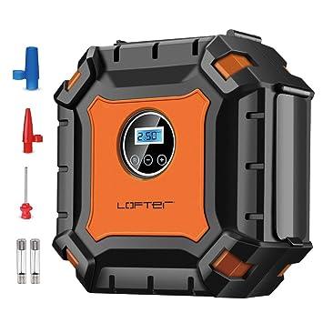 Inflador de neumáticos digital, compresor de aire portátil, con 9 luces LED, indicador de presión digital ...