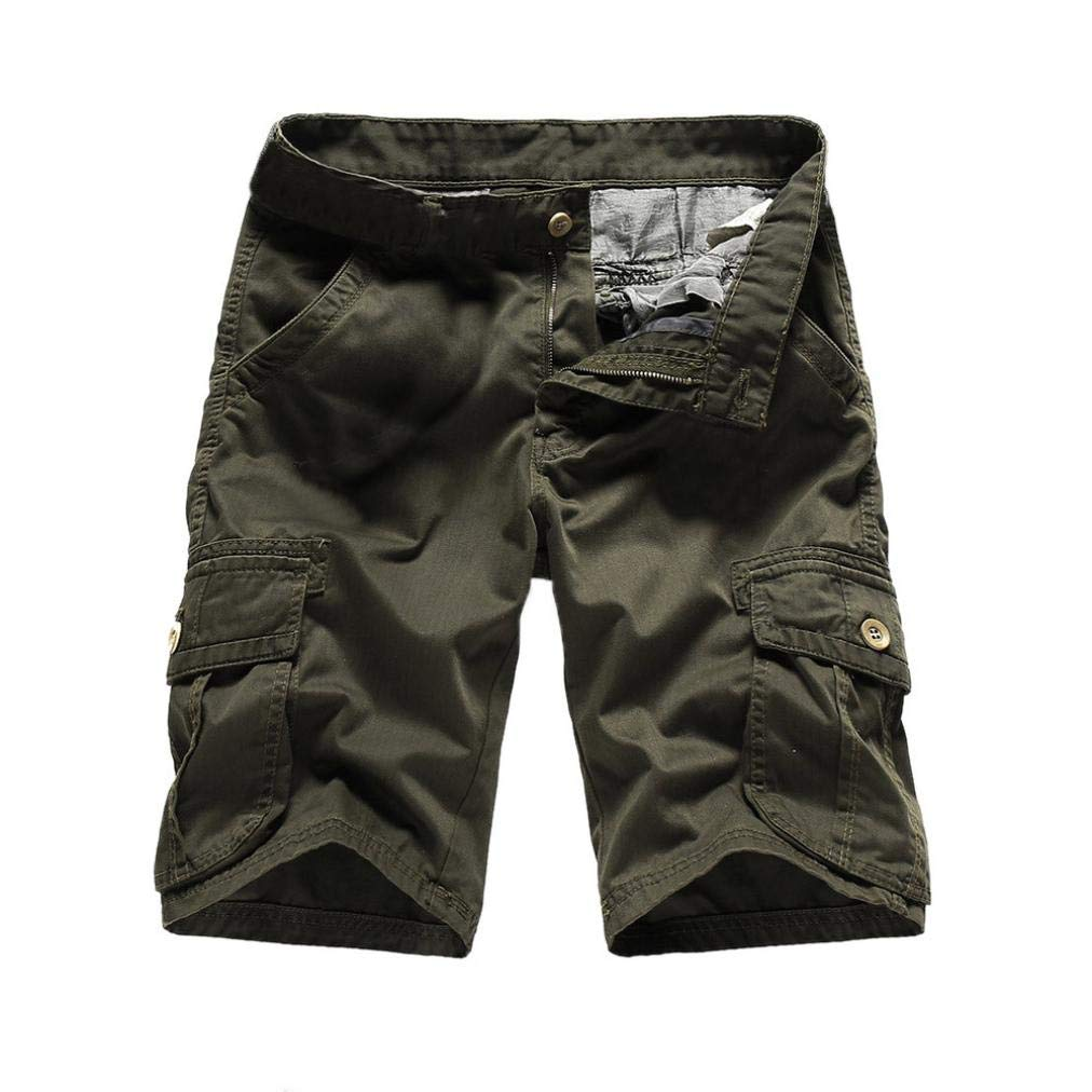 Dacawin Multi-Pockets Casual Pure Color Cargo Trouser Men Relaxed Fit Outdoors Work Beach Shorts Pants
