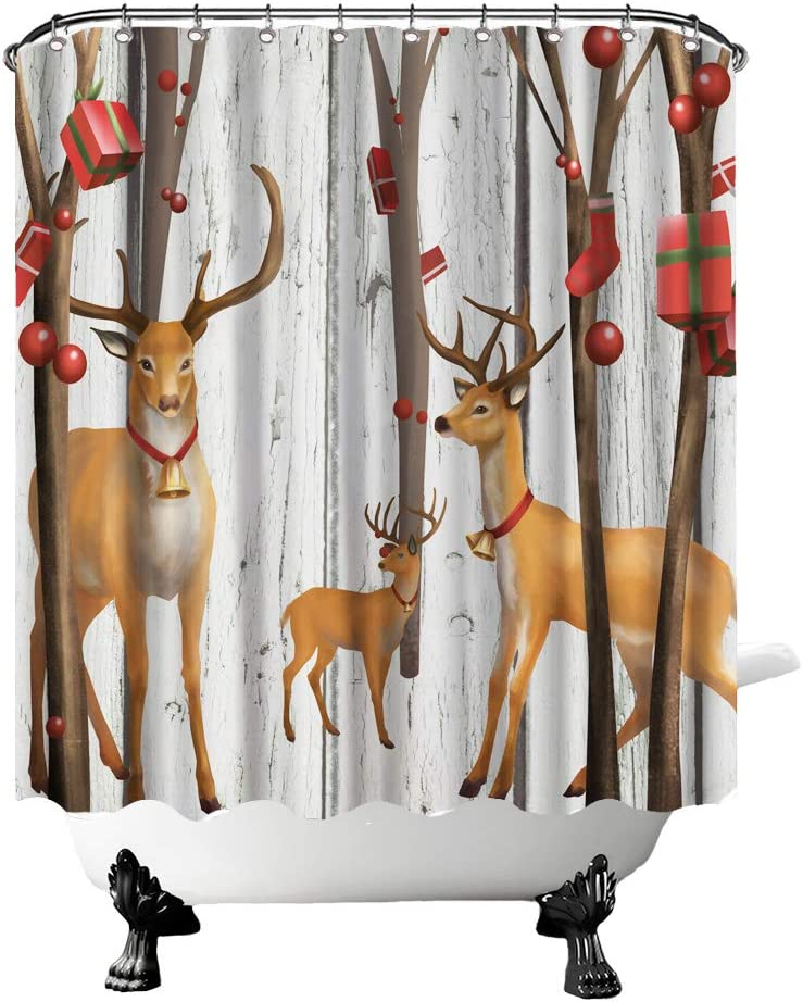 """Deer Shower Curtain Elk Family Under Christmas Decorative Trees Bathroom Curtain Rustic Fabric Curtain for Farmhouse Home Decor with Hooks 72""""X72"""" Inches Brown Grey Red"""