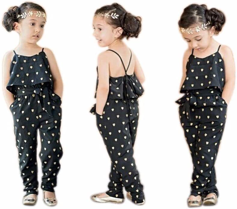 7T, Black Fashion Kids Baby Girls Love Heart Print Sleeveless Jumpsuit Romper Girls Summer Clothes Outfits for 1-7Y