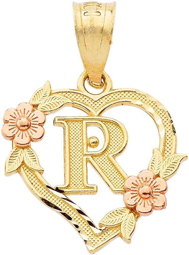 10k Two-Tone Initial Heart Pendant for Women in Yellow and Rose Gold