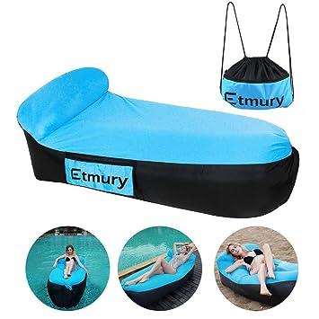Sofa Hinchable con almohada y bolsa,tumbona hinchable Etmury,sofa inflable,portátil impermeable ligero poliéster aire sofá inflable ocioso,aire cama ...