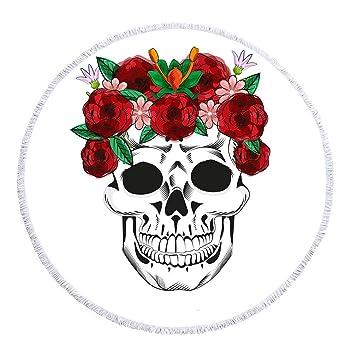 Cabeza de cráneo Abstracto as Totem Rosa Manta de Toalla de Playa Redonda de Microfibra, diseño de impresión Personalizado, Secado rápido, Manta de Playa ...
