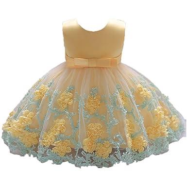Kinder Mädchen Baby Prinzessin Hochzeit Tutu Tüll Festkleider Sommer Kleid Gelb