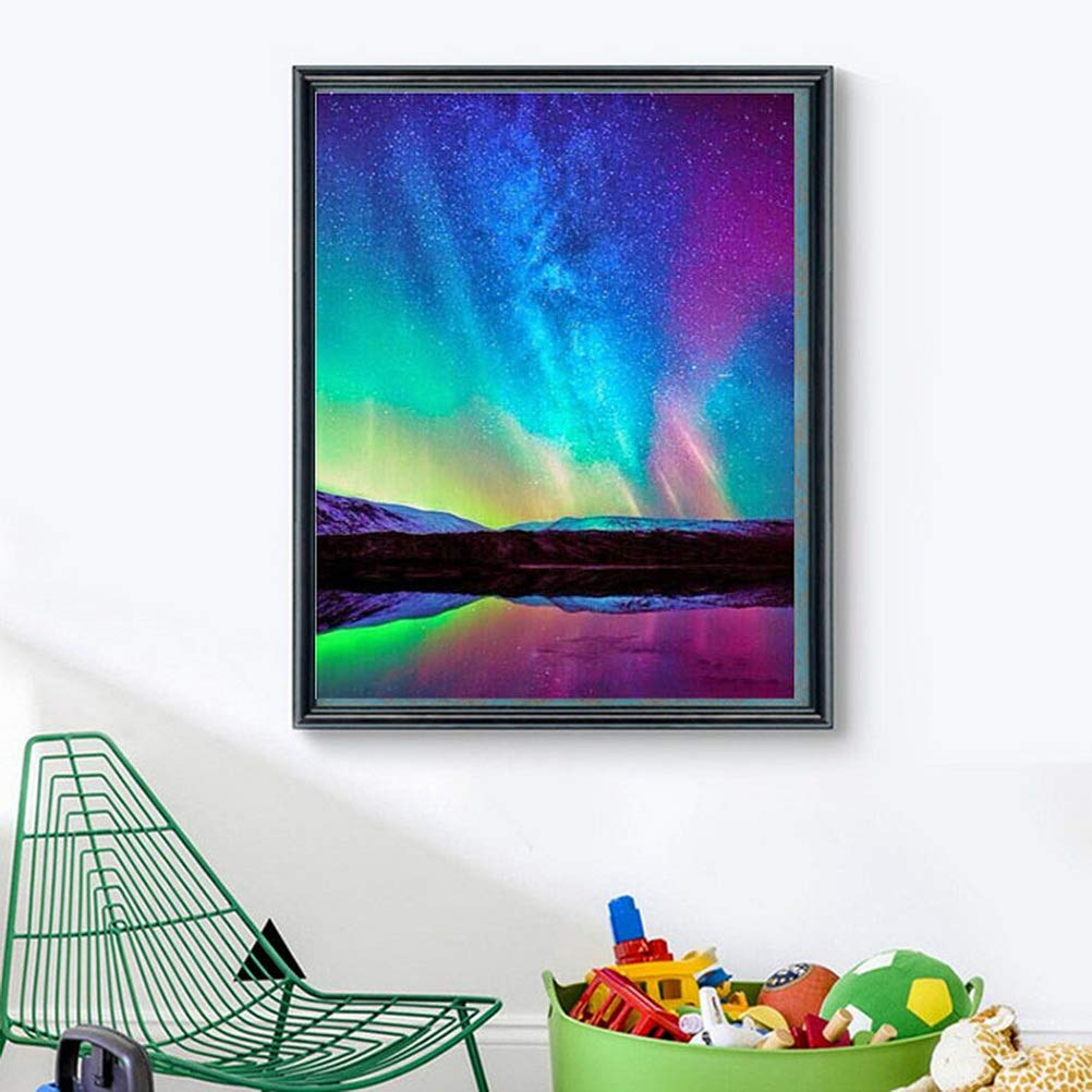 30 * 40cm kuou DIY 5D Diamond Painting by Number Kits Crystal Rhinestone Diamond Embroidery Paintings 5D Full Drill Diamond Painting Kits Aurora