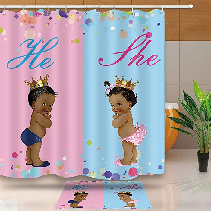 NEWTOO Fabric Shower Curtain for Kids, Black Boy and Girl Two-Color Stitching Fabric Bathroom Decor NTT027 (72Wx72L, Pink Blue)