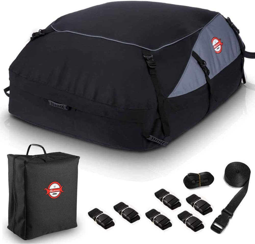 SANHIMA Rooftop Cargo Carrier Bag 4 Bungee Cords 20 Cubic Feet Waterproof Cargo Carrier with Anti-Slip Mat 6 Door Hooks for All Vehicle with// Without Rack /& Truck Bed 2 Reinforced Straps