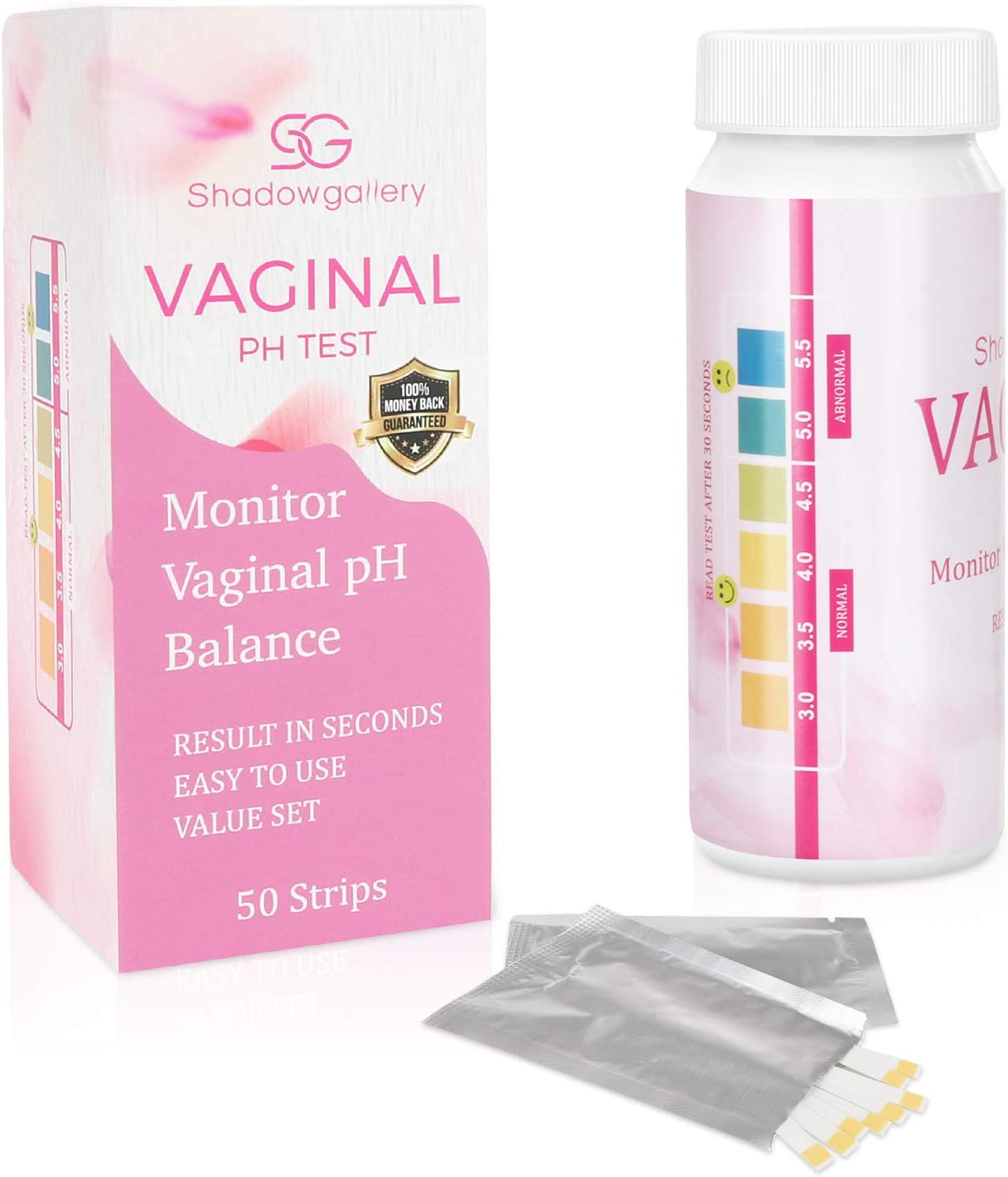 50 Strips- Vaginal Health PH Test Strips, Monitor Feminine Vaginal PH Balance, Test Before Yeast Infection Treatment or BV Treatment, Easy Use and Accurate Match