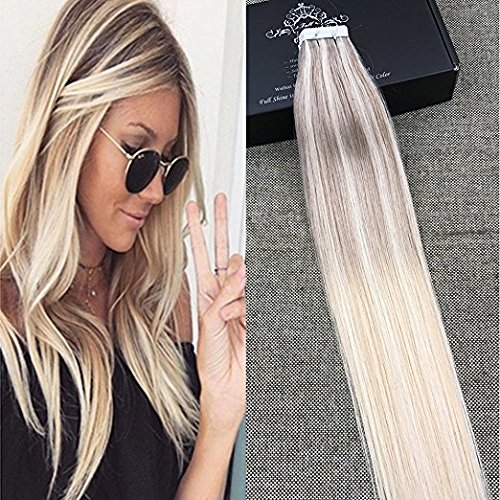 """Beauty : Full Shine 16"""" 20 Pcs Per Pack 50 Gram Pastel Hair Dye Nordic Balayage Color #18 Ash Blonde Fading to Blonde #22 and #60 Ombre Glued in Seamless Hair Extensions"""