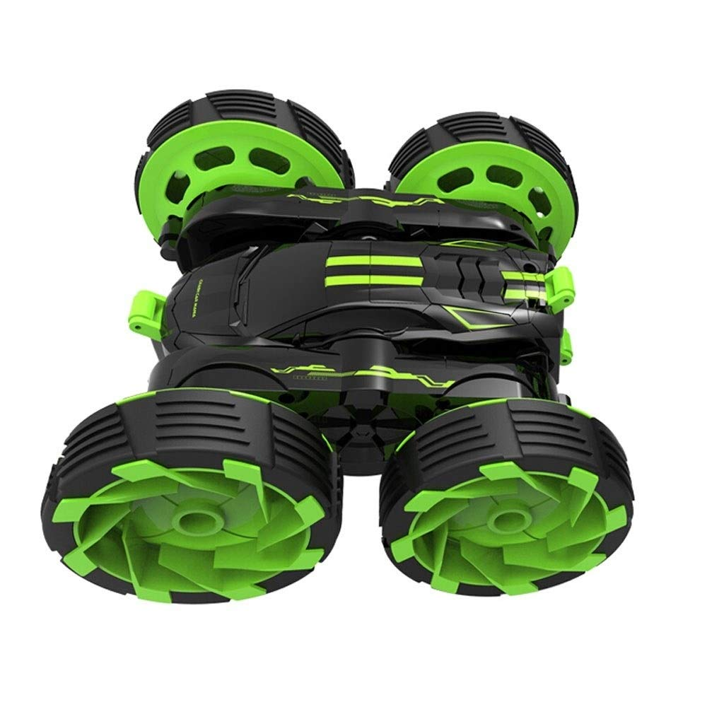 TBFEI Double Sided Rotating Tumbling 360 Degree Flips,RC Truck with LED Headlights Children Remote Control Toy Charging Stunt Dump Truck RC Car Remote Control Stunt Car (Color : Green) by TBFEI (Image #2)