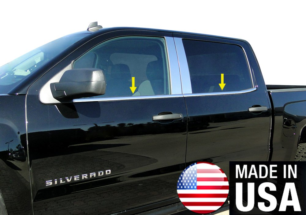 Works with 2014-2018 Chevy//GMC Silverado1500 2500 3500//Sierra 1500 2500 3500 Crew Cab 4PC Window Sill Trim Overlay Cover Made in USA