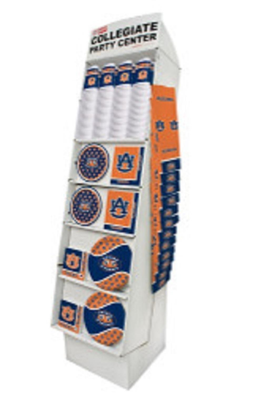 Club Pack of 126 Burnt Orange and Navy Blue Auburn University Tigers Floor Displays 63''
