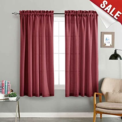 Semi Sheer Curtains For Living Room 63 Inches Long Curtain Burgundy Red Linen Look Textured Privacy