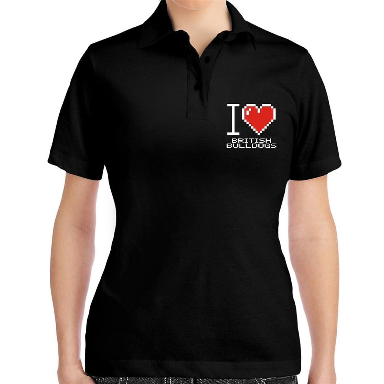 I love British Bulldogs pixelated Women Polo Shirt