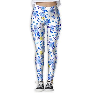 b0b56fe83e5f9 Jimlia Women's Workout Blue Floral Graphic Pattern Casual Stretch High  Waist Super Soft Yoga Legging Small