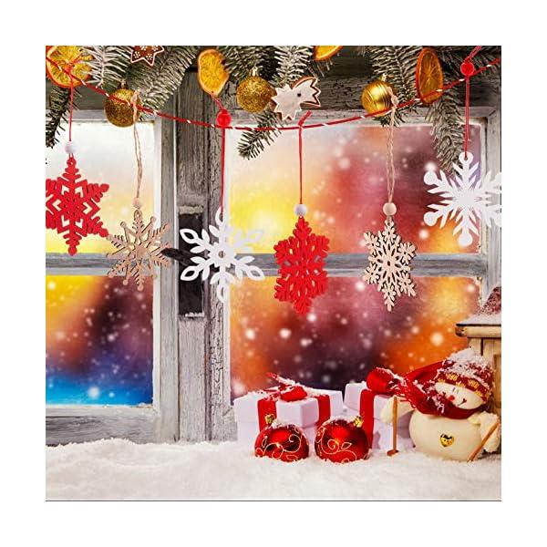 MELLIEX 18 Pezzi di Natale in Legno con Fiocchi di Neve Ornamenti, 3 Colori Albero di Natale Appeso Decorazioni Ciondolo, Natale Artigianato in Legno Abbellimento con Spago 7 spesavip