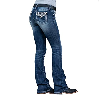 Miss Me Women's Tennessee Angel Wings Embellished Boot Cut Jeans: Clothing
