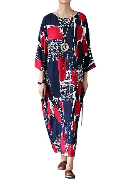 MatchLife - Vestido - Kimono - Manga 3/4 - para Mujer Style2-Rouge