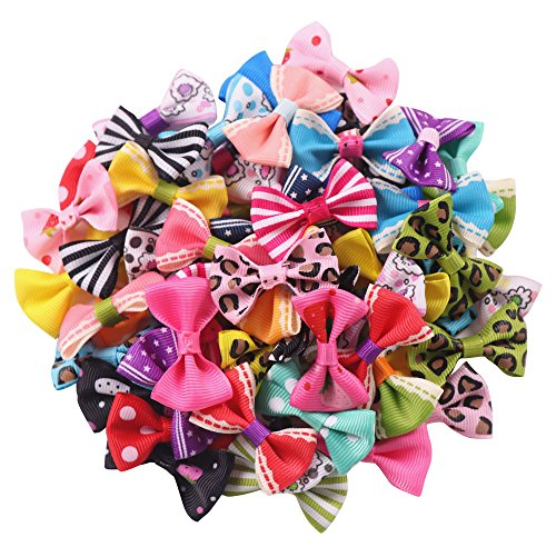 YAKA 60pcs(30pairs) 1.5inch Grosgrain Ribbon Mini Bow Ties Craft Rose Appliques Craft Wedding Hair Bow DIY Decor 30Color (Style1) ()