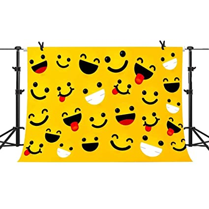 Cute Smile Face Emoji Expressions Backdrops Yellow Cartoon Backgrounds Photography Baby Kids Themed Birthday Party Decorations