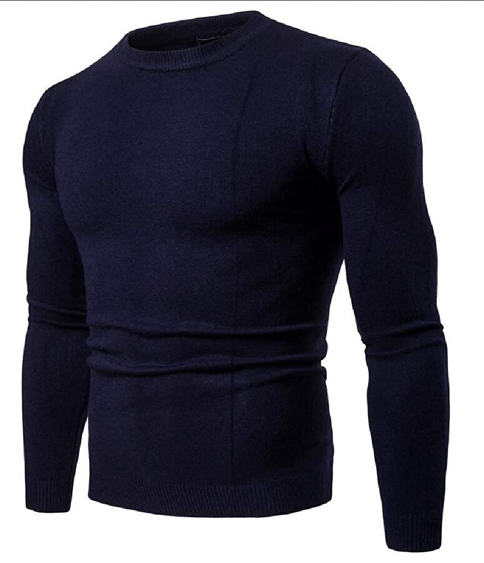 Unko Men Casual Sweaters Crew Neck Long Sleeve Knit Sweater Tops
