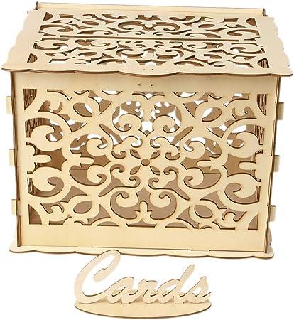 CADANIA DIY Regalo de Boda Caja De Madera Caja de Dinero Caja de Dinero con Cerradura Rústica Hermosa Fiesta de Cumpleaños Favores Suministros Decoración: Amazon.es: Hogar