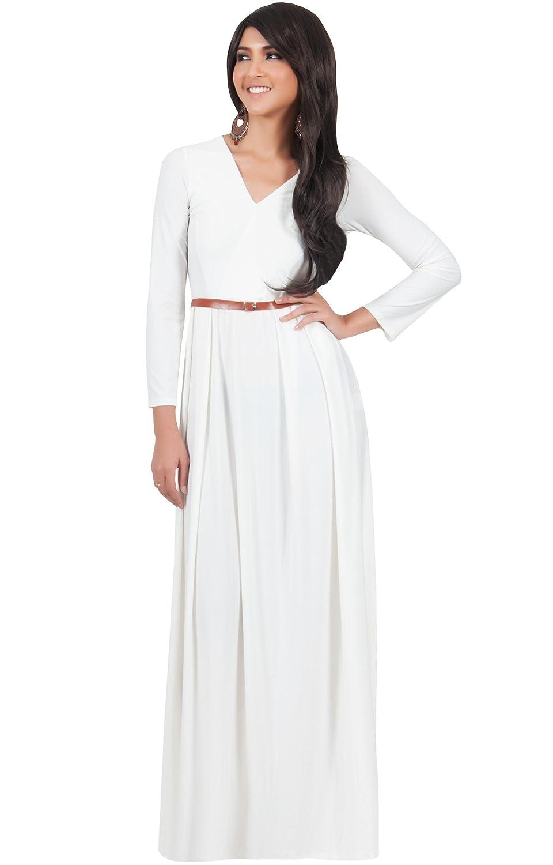 Koh Koh Damen V-Neck elegantes Abend Maxi-Kleid, Größe M, weiß