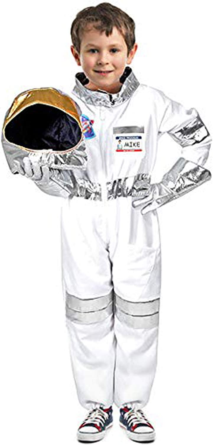Children's Astronaut Costume Space Pretend Dress up Role Play Set for Kids Boys Girls with a Free America Flag Pin White