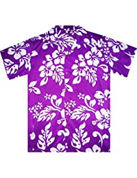 Funky Hawaiian Shirt For Men Short Sleeve Front-Pocket Hibiscus Flower Purple