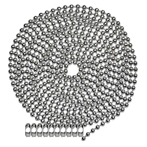 - 10 Foot Length Ball Chain, Number 10 Size, Nickel Plated Steel, 10 Matching 'B' Couplings