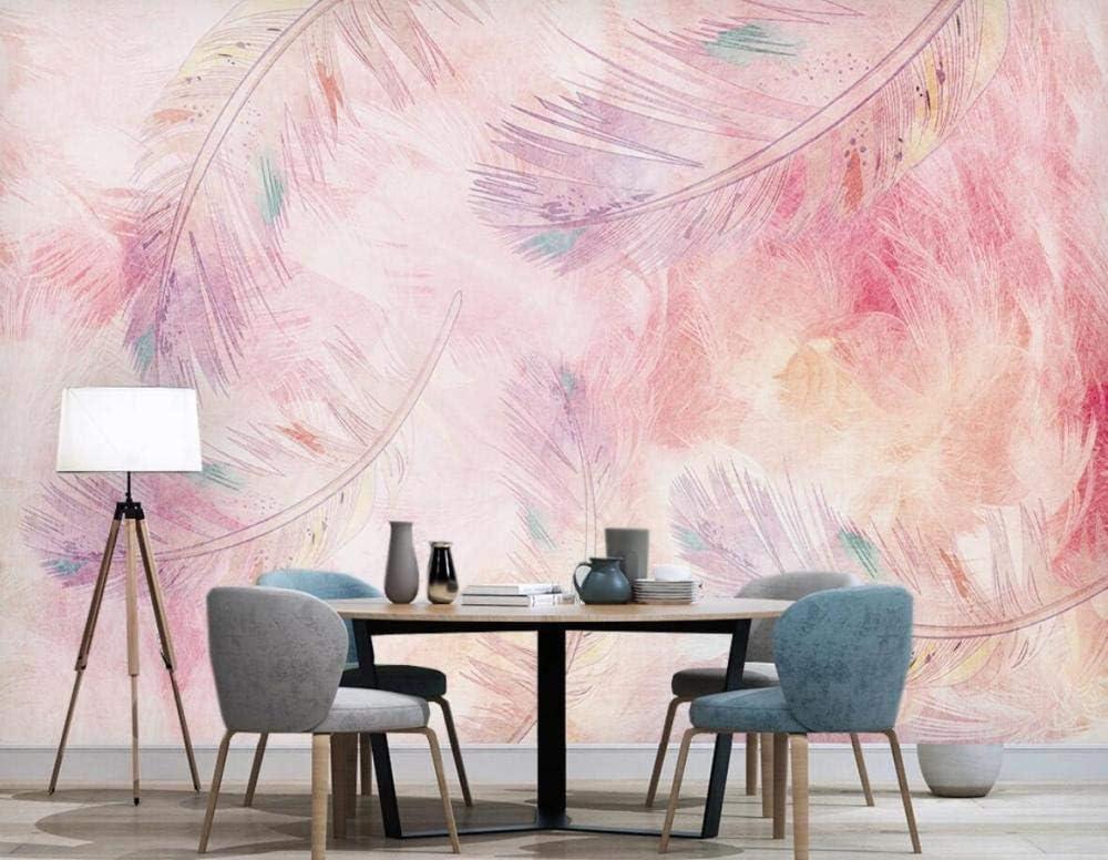 Fotomural Papel Pintado 3D Hand Painted Pink Feather Mural Pared Decoraci/ón Dormitorio Sala Papel Tapiz 150x105cm