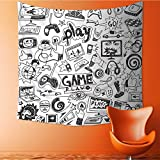 UHOO2018 Wall Hanging Tapestries Video Games Black and White Sketch Style Gaming DesignRacing Monitor Device Gadget Teen Large tablecloths 63W x 63L Inch