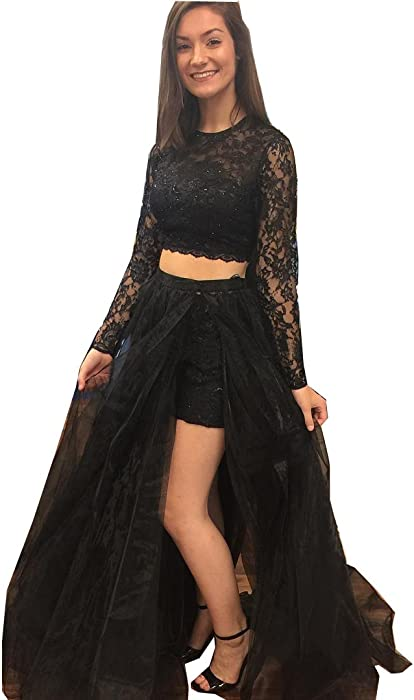 444c590224c XingMeng Long Sleeve Prom Dress Two Piece Split Lace Tulle Formal Dress  Party Evening Gown Black