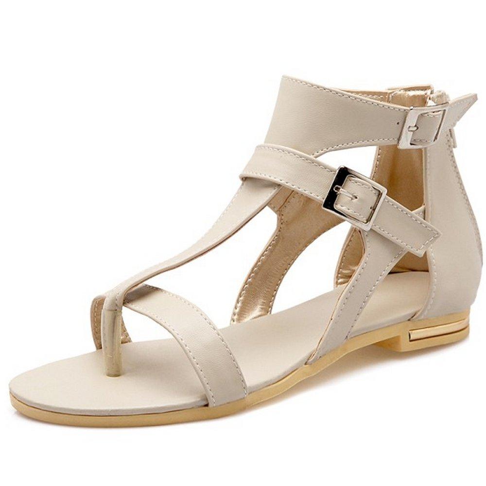 LongFengMa Women's Fashion Ankle Strap Zipper Flat Sandals Shoes B073NLNJYM 8 B(M) US|Apricot