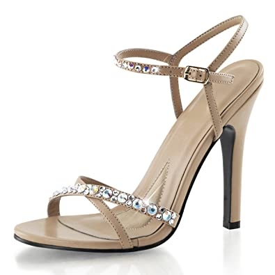93a4efe768a Summitfashions Womens Dress Sandals Taupe Ankle Strap Rhinestone Shoes 4 1 2  Inch Heels Size