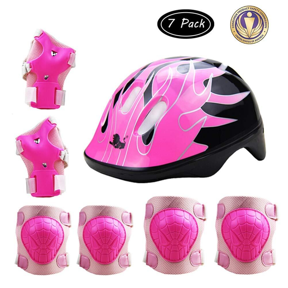 GYL-JL Kid's Protective Gear Set Helmet Knee Pads Set (Color : Pink, Size : M)