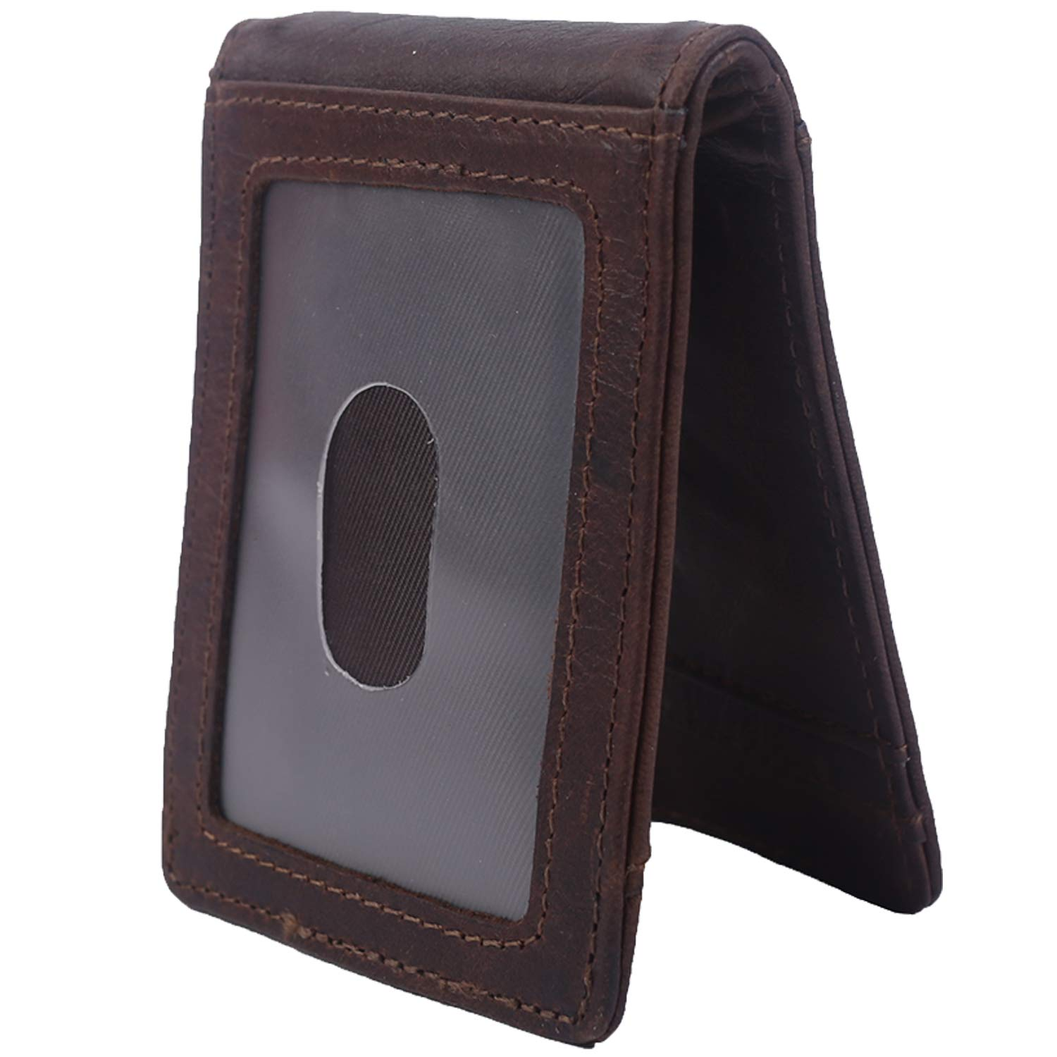 Mens Bifold Wallet RFID Money Clip Vintage Leather Slim Thin Front Pocket Wallet (Coffee (ID Window))