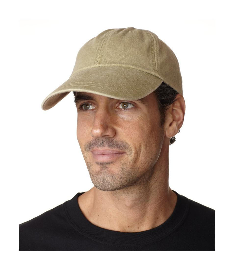 KEKLLE Adams Sunbuster Pigment Dyed Twill Cap With Extra Long Visor (Khaki) (ALL)