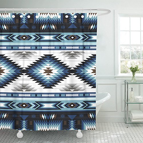 TOMPOP Shower Curtain Blue Colors Tribal Navajo Pattern Aztec Abstract Geometric Ethnic Waterproof Polyester Fabric 72 x 78 Inches Set with Hooks