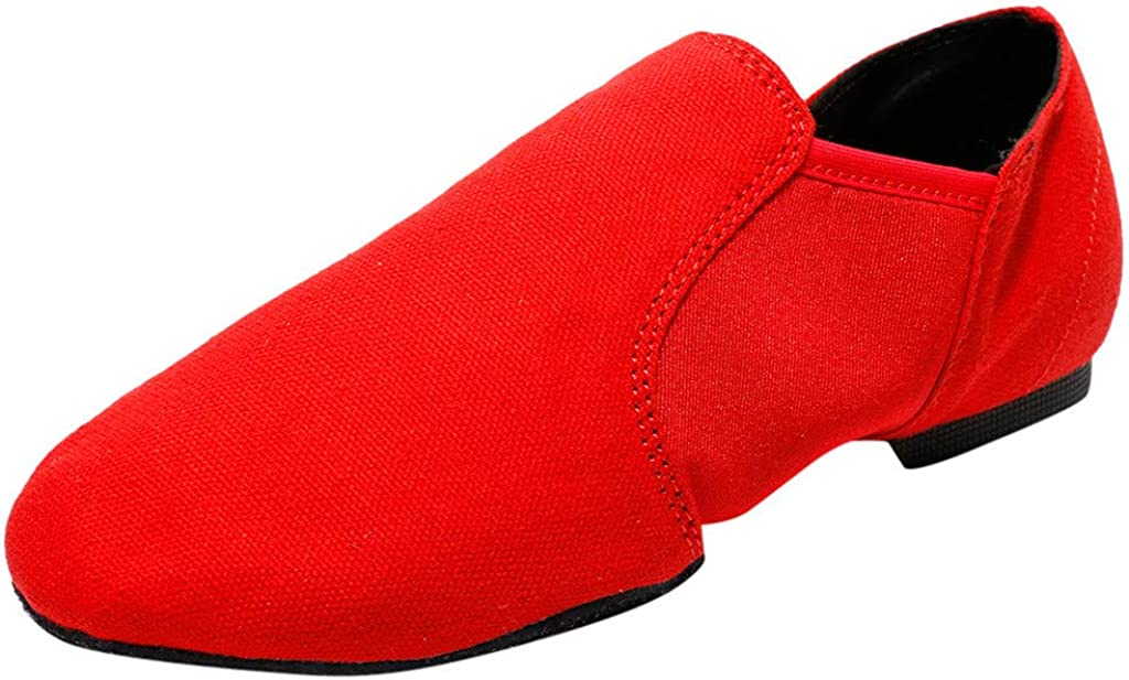 OFEFAN Leather Upper Jazz Shoe Slip-on for Women and Men Black