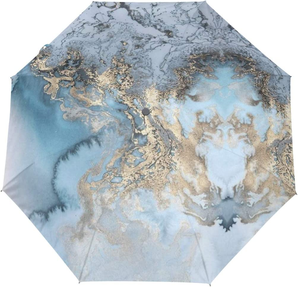 Blue Marble Swirl fashion print cute Windproof automatic tri-fold umbrella sun UV protection Sun umbrella