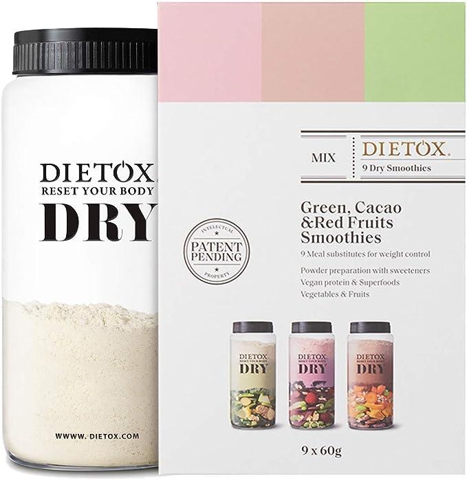 Dietox Dry Smoothies | Batidos de Proteínas Veganos Sustitutivos de comidas surtido 3 sabores 9 x 60gr