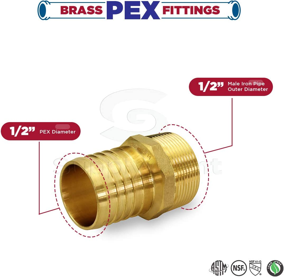 Everflow EPMA1034-NL 1 Inch x 3//4 Inch Lead Free Brass Adapters PEX x MIP Low-Cost plumbing Connection Durability /& Reliability Easy to Install Brass Construction Compatible w// PEX Piping