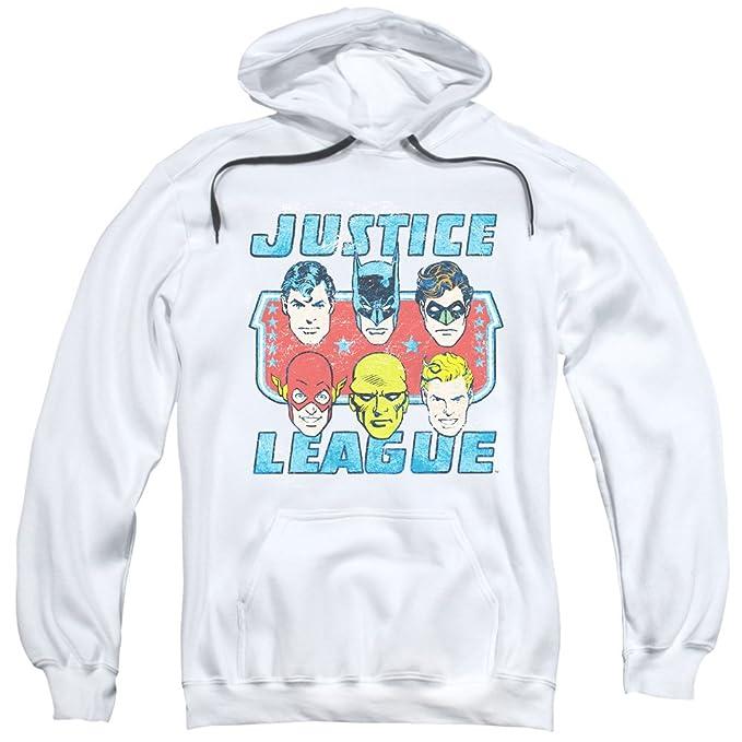 DC - Las caras de los hombres de la justicia Sudadera con capucha - DC, X-Large, White: Amazon.es: Ropa y accesorios