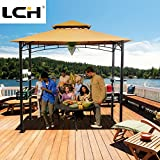 LCH 8ft x 5ft Outdoor Grill Gazebo Patio BBQ Soft Top Canopy Tent, Beige