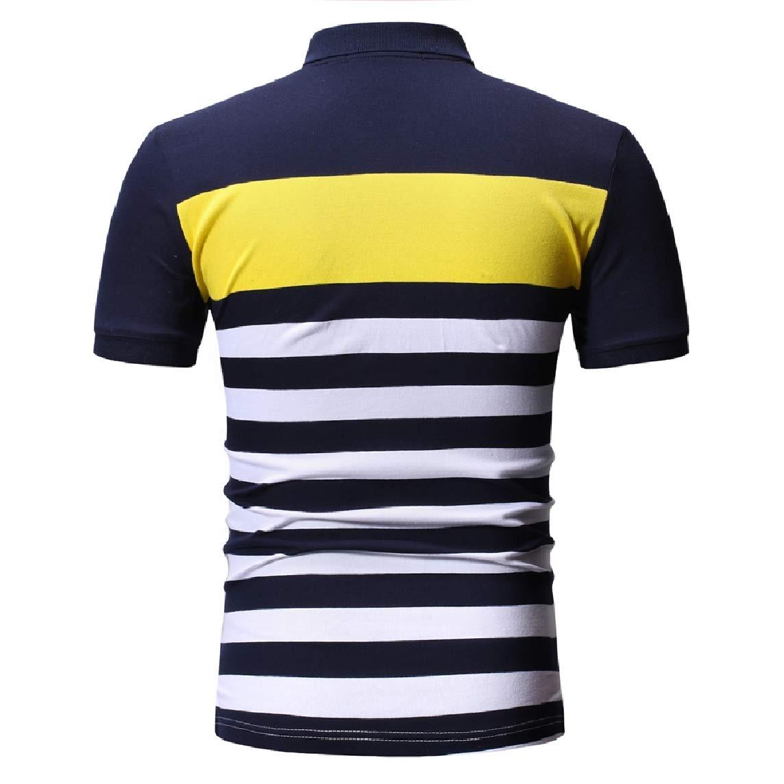 Mfasica Men Lapel Cozy Short-Sleeve Hit Color T-Shirts Polo Shirt