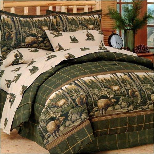 Blue Ridge Trading Rocky Mountain Elk Complete Bed Set, Queen, Green/Brown Blue Ridge Rustic Plaid