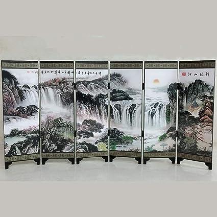 BU-SOH Pantallas del Panel de Inicio Regalo Memorial artesanía de Madera de Estilo asiático de 6 Paneles de la pequeña Pantalla Decoración Folk Tabique (Color : A, Size : 48x24x0.6cm): Amazon.es: Hogar