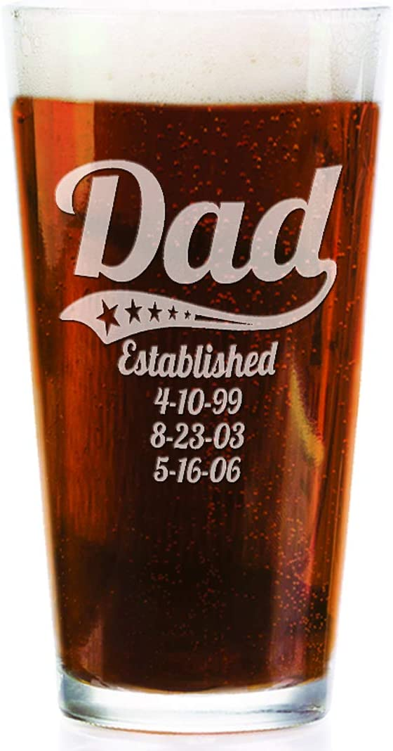 Personalized Daddy Pub Glass with Kids